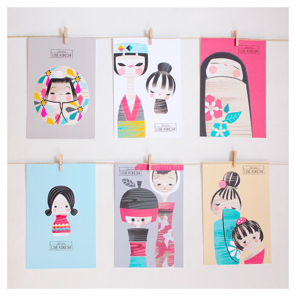 Set de postales Charuca Kokeshi.